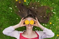 Summer oranges - stock photo