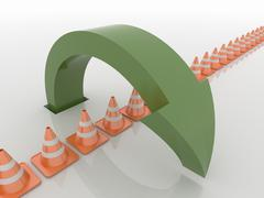 Curved Green Arrow Symbol Over Traffic Cones , Solution and Liberty Concept - stock illustration