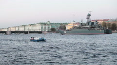 Military ship is on the Neva river near Winter Palace and Palace Bridge Stock Footage