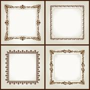 Vector vintage retro frames ornament label - stock illustration