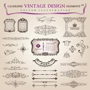 Vector set calligraphic design elements and page decoration - stock illustration