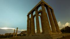 Greece motion control sunset timelapse Ancient Temple of Zeus Stock Footage
