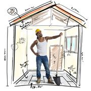 Stock Photo of Mason working on a new construction