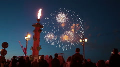 Stock Video Footage of Burning fire on Rostral column and firework in the sky, St. Petersburg, Russia