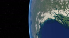 Orbital flyover of Northwest Canada with camera tilted 90 degrees (cloudless) - stock footage