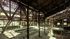 Motion control pan interior abandoned broken factory structure Stock Footage