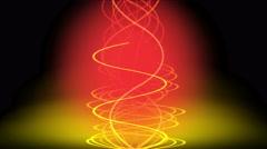 4k Gold spiral fire line in smoke.energy signal,warm glow rhythm vibration wave. - stock footage