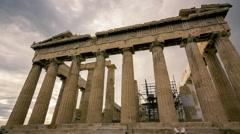 Acropolis parthenon site timelapse pillars overcast sky sunset - stock footage
