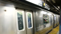 Subway train moving out of station in New York Arkistovideo