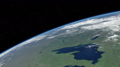 Orbital flyover of the Great Lakes - stock footage