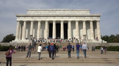 Washington DC Lincoln Memorial front entrance tourism 4K 010 Stock Footage