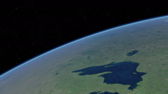 Stock Video Footage of Orbital flyover of the Great Lakes (cloudless)