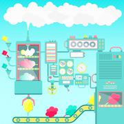 Cotton candy factory Stock Illustration