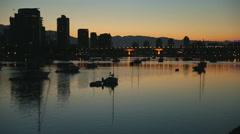 First Light Skyline, False Creek, Vancouver Stock Footage