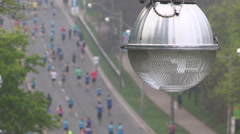 Old fashioned incandescent street lamp in city of Toronto - stock footage