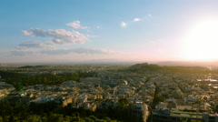 Athens aerial skyline at sunset motion control panning timelapse Stock Footage