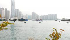 Panoramic harbour view, mooring area, vessels, cityscape on horizon Stock Footage