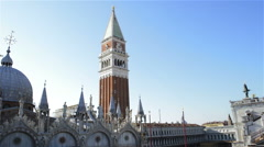 Pan view St Marks basilica and square - roofs of Venice Italy Stock Footage