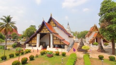 Wat Thung Yang, Ancient buddha temple. Lae district, Uttaradit, Thailand Stock Footage