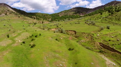 Beautiful mountain landscape with ravine, aerial view - stock footage