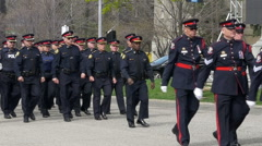 Police Chief marching with officers - Toronto Canada Stock Footage