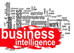 Business intelligence word cloud with red banner - stock illustration