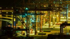 Trading port ,logistics, crane activity, night timelapse Stock Footage