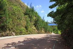 New road around the hotel Raffles Praslin Seychelles - stock photo