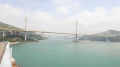 Huge cable-stayed bridge over harbour, Ting Kau Bridge at Hong Kong Stock Footage