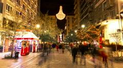 Ermou shopping street,crowd pedestrians people, night time lapse Athens Greece Stock Footage