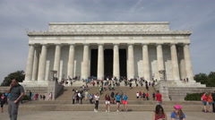 Washington DC Lincoln Memorial front tourist entrance fast 4K 011 Stock Footage