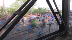 Stock Video Footage of Massive crowd of marathon runners in the streets of the city of Toronto