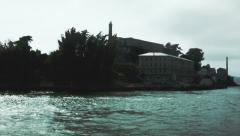 Alcatraz island from a boat - stock footage