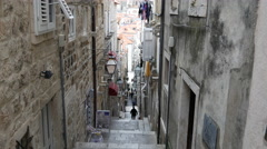 Stairs in the old town of Dubrovnik Croatia Stock Footage