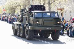 9 May 2015; Belarus, Borisov Movement of military equipment. - stock photo