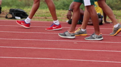 Sportsmen walking on track. Race. Runners. Athletes. Games Stock Footage