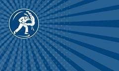 Business card Judo Combatants Throw Circle Icon Stock Illustration