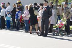 9 May 2015; Belarus, Borisov People go for parade in honor of a Victory Day. Stock Photos