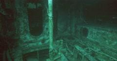 Underwater inside ship wreck 4K Stock Footage