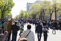 9 May 2015; Belarus, Borisov People go for parade in honor of a Victory Day. - stock photo