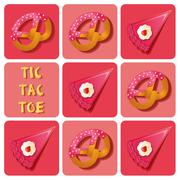Tic-Tac-Toe of cake and pretzel - stock illustration