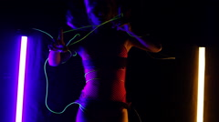 Neon EL Wire Girls Stock Footage