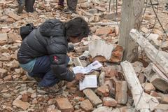 Nepal on April 25 7.8-magnitude earthquake - stock photo