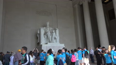 Washington DC Lincoln Memorial inside tourists school trip 4K 005 Stock Footage