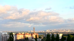 Timelapse of beautiful clouds moving over Kiev cityscape.mp4 Stock Footage