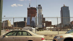 West Side Highway Moving Car Fence Abandoned Construction Site Skyscraper 4K NYC Stock Footage