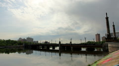 Beautiful time lapse shot clouds over the city of Donetsk. River Kalmius Stock Footage
