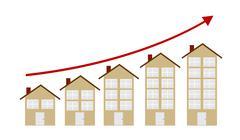 Rising Housing Market Concept Vector Illustration Stock Illustration