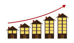 Rising Housing Market Concept Vector Illustration - stock illustration