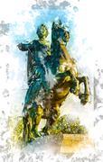 Bronze Horseman Stock Illustration